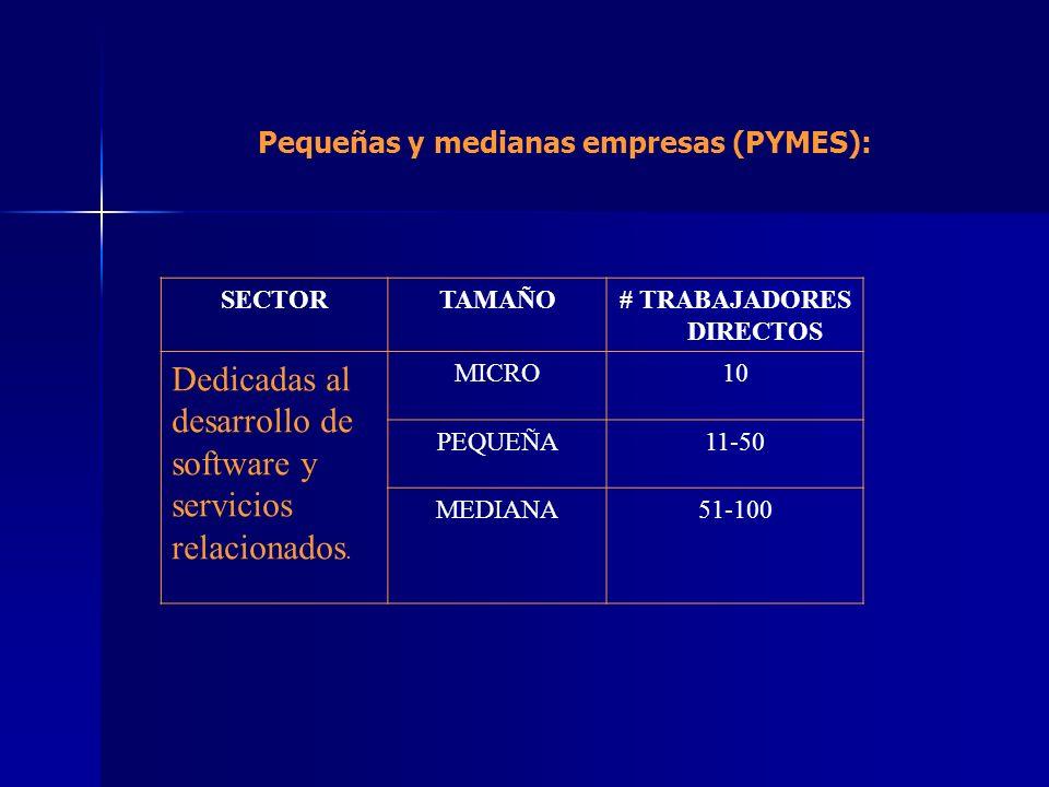 SECTORTAMAÑO# TRABAJADORES DIRECTOS Dedicadas al desarrollo de software y servicios relacionados. MICRO10 PEQUEÑA11-50 MEDIANA51-100 Pequeñas y median