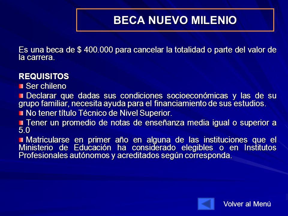 BECA NUEVO MILENIO Es una beca de $ 400.000 para cancelar la totalidad o parte del valor de la carrera.