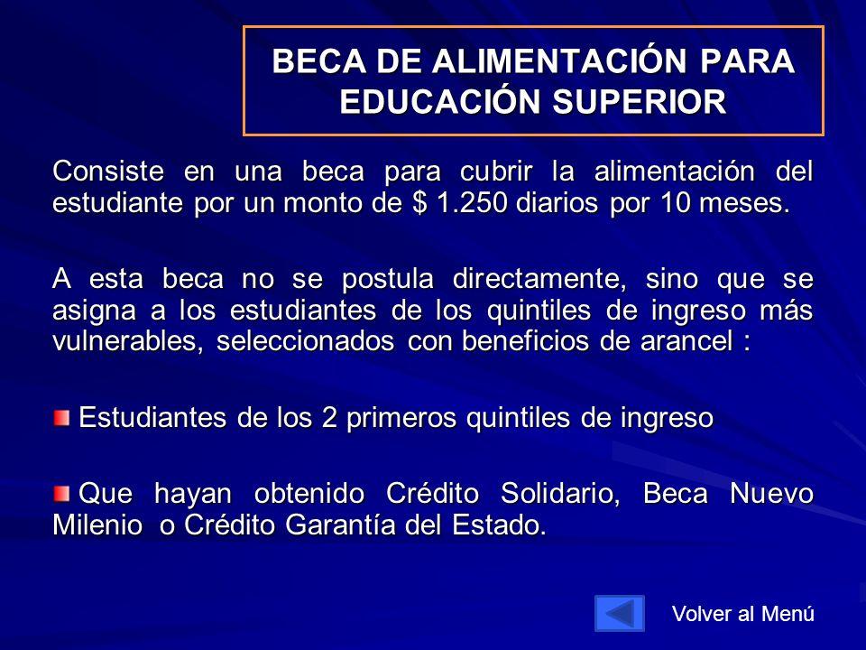BECA DE ALIMENTACIÓN PARA EDUCACIÓN SUPERIOR Consiste en una beca para cubrir la alimentación del estudiante por un monto de $ 1.250 diarios por 10 meses.