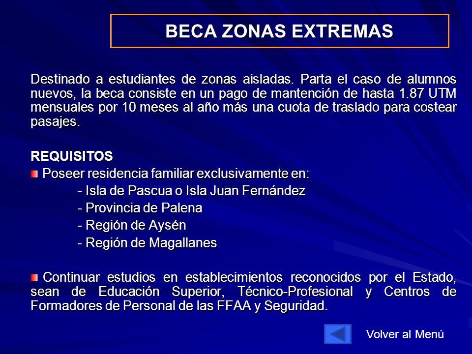 BECA ZONAS EXTREMAS Destinado a estudiantes de zonas aisladas.