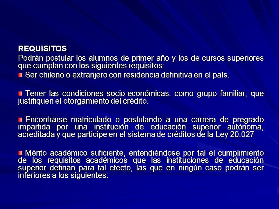 REQUISITOS Podrán postular los alumnos de primer año y los de cursos superiores que cumplan con los siguientes requisitos: Ser chileno o extranjero con residencia definitiva en el país.