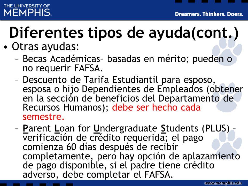 Diferentes tipos de ayuda(cont.) Otras ayudas: –Becas Académicas– basadas en mérito; pueden o no requerir FAFSA.
