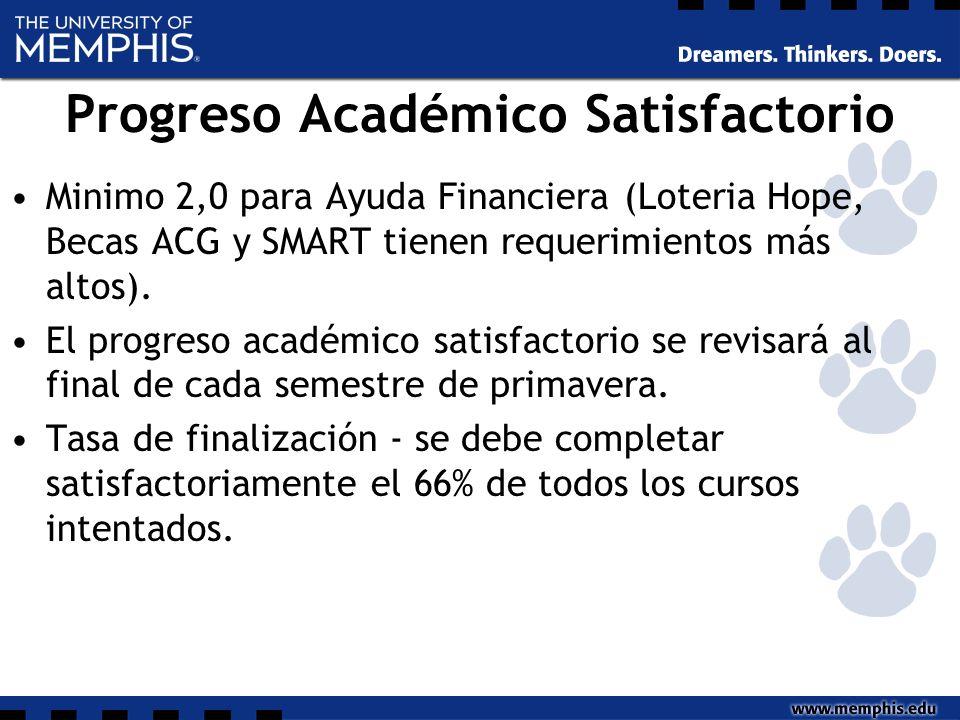 Progreso Académico Satisfactorio Minimo 2,0 para Ayuda Financiera (Loteria Hope, Becas ACG y SMART tienen requerimientos más altos).