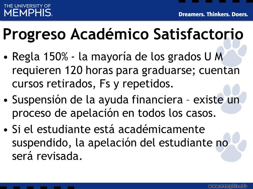Progreso Académico Satisfactorio Regla 150% - la mayoría de los grados U M requieren 120 horas para graduarse; cuentan cursos retirados, Fs y repetidos.