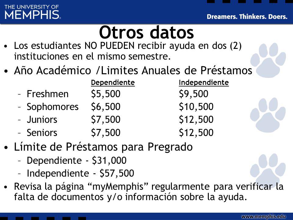 Otros datos Los estudiantes NO PUEDEN recibir ayuda en dos (2) instituciones en el mismo semestre.