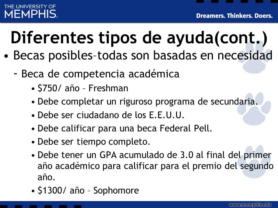 Diferentes tipos de ayuda(cont.) Becas posibles–todas son basadas en necesidad - Beca de competencia académica $750/ año – Freshman Debe completar un