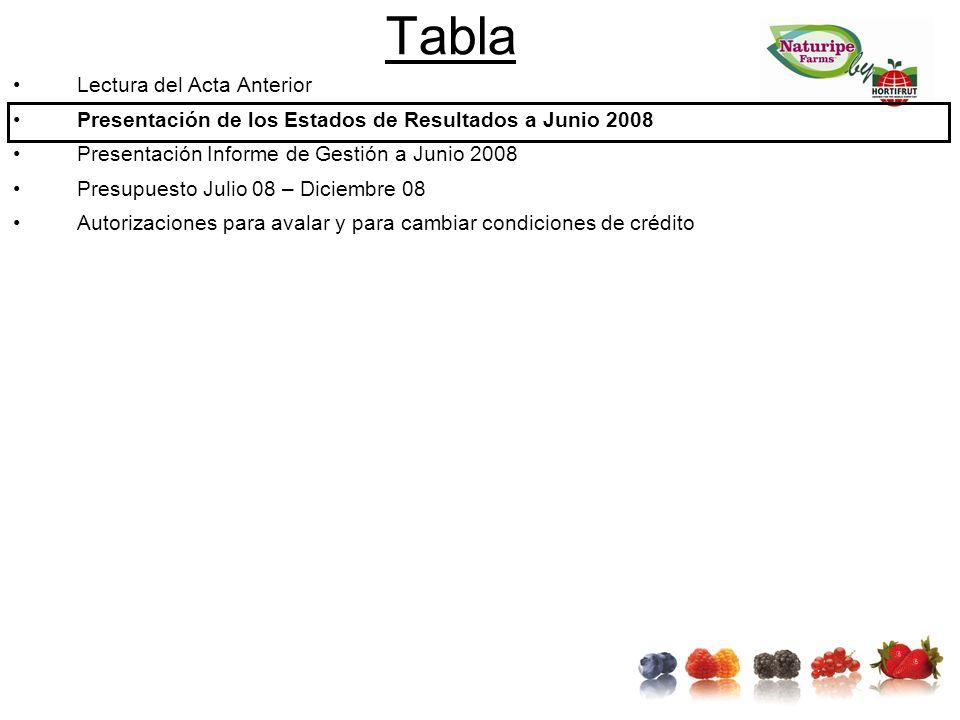 Tabla Lectura del Acta Anterior Presentación de los Estados de Resultados a Junio 2008 Presentación Informe de Gestión a Junio 2008 Presupuesto Julio