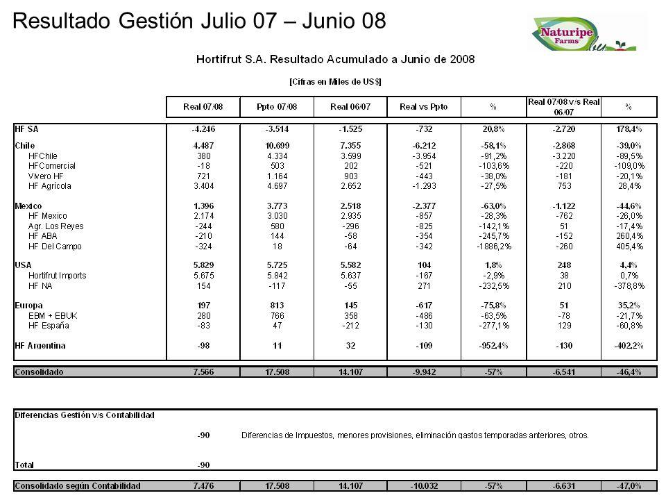Resultado Gestión Julio 07 – Junio 08