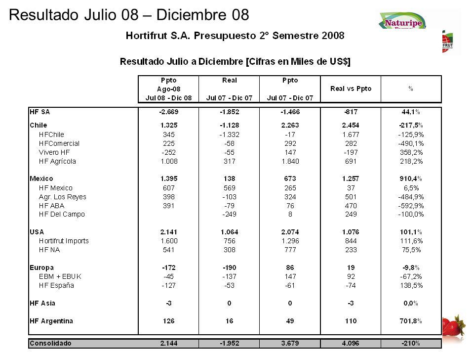 Resultado Julio 08 – Diciembre 08