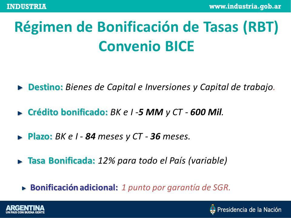 Régimen de Bonificación de Tasas (RBT) Convenio BICE Destino: Destino: Bienes de Capital e Inversiones y Capital de trabajo. Crédito bonificado: Crédi