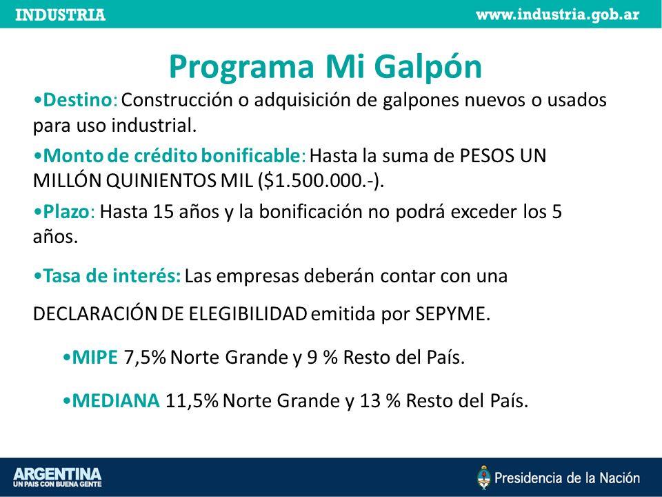 Programa Mi Galpón Destino: Construcción o adquisición de galpones nuevos o usados para uso industrial. Monto de crédito bonificable: Hasta la suma de