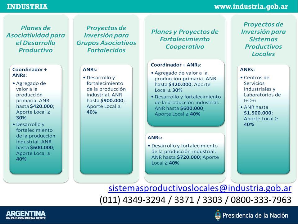 sistemasproductivoslocales@industria.gob.ar (011) 4349-3294 / 3371 / 3303 / 0800-333-7963