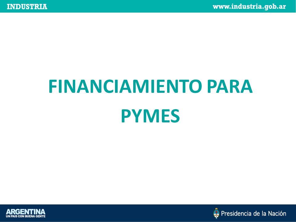 Fondo Nacional de Desarrollo para la Micro, Pequeña y Mediana Empresa (FONAPyME) El programa otorga créditos de mediano y largo plazo para proyectos de inversión de pymes: - Manufactureras - Transformadoras de productos industriales - Prestadoras de servicios industriales - Mineras - Agroindustriales y de la construcción