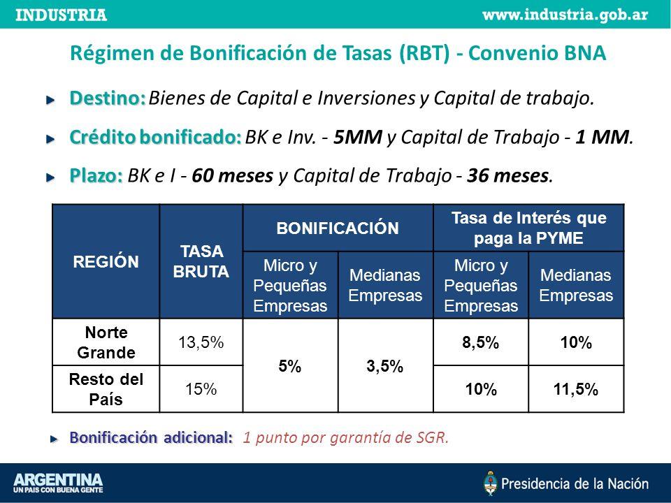 Régimen de Bonificación de Tasas (RBT) Convenio BICE Destino: Destino: Bienes de Capital e Inversiones y Capital de trabajo.
