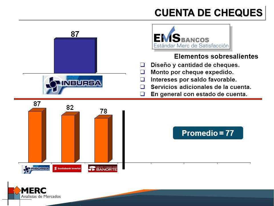 CUENTA DE CHEQUES Elementos sobresalientes Diseño y cantidad de cheques.