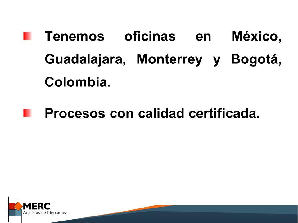Tenemos oficinas en México, Guadalajara, Monterrey y Bogotá, Colombia.