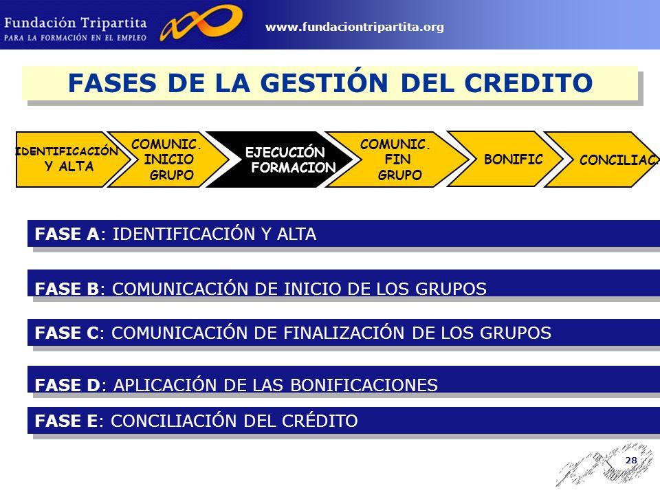 27 www.fundaciontripartita.org Fases del Procedimiento de Gestión de las Acciones Formativas y los PIF
