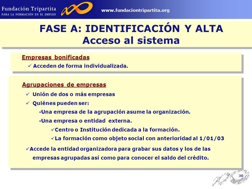 29 www.fundaciontripartita.org FASE A: IDENTIFICACIÓN Y ALTA EMPRESAS BONIFICADAS ENTIDAD ORGANIZADORA www.fundaciontripartita.org