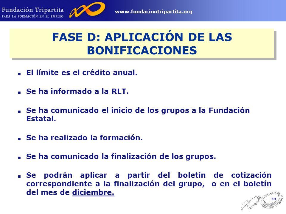 37 www.fundaciontripartita.org Datos de la acción: denominación, modalidad, lugar, fechas del grupo.