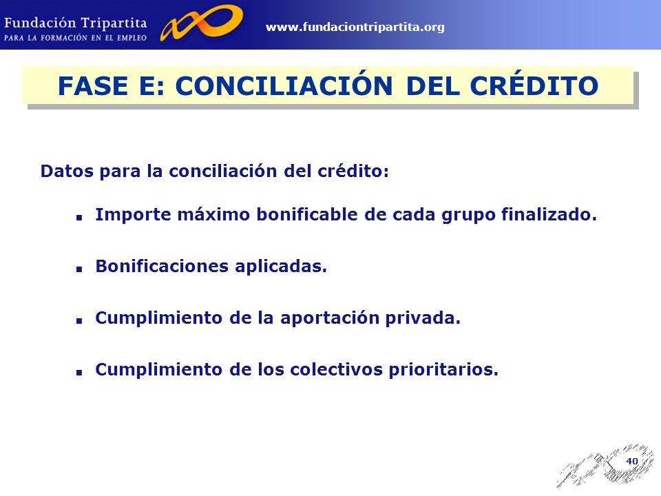 39 www.fundaciontripartita.org FASE D: APLICACIÓN DE LAS BONIFICACIONES Incluir en el nuevo concepto: 763 Bonificación INEM Formación Continua.