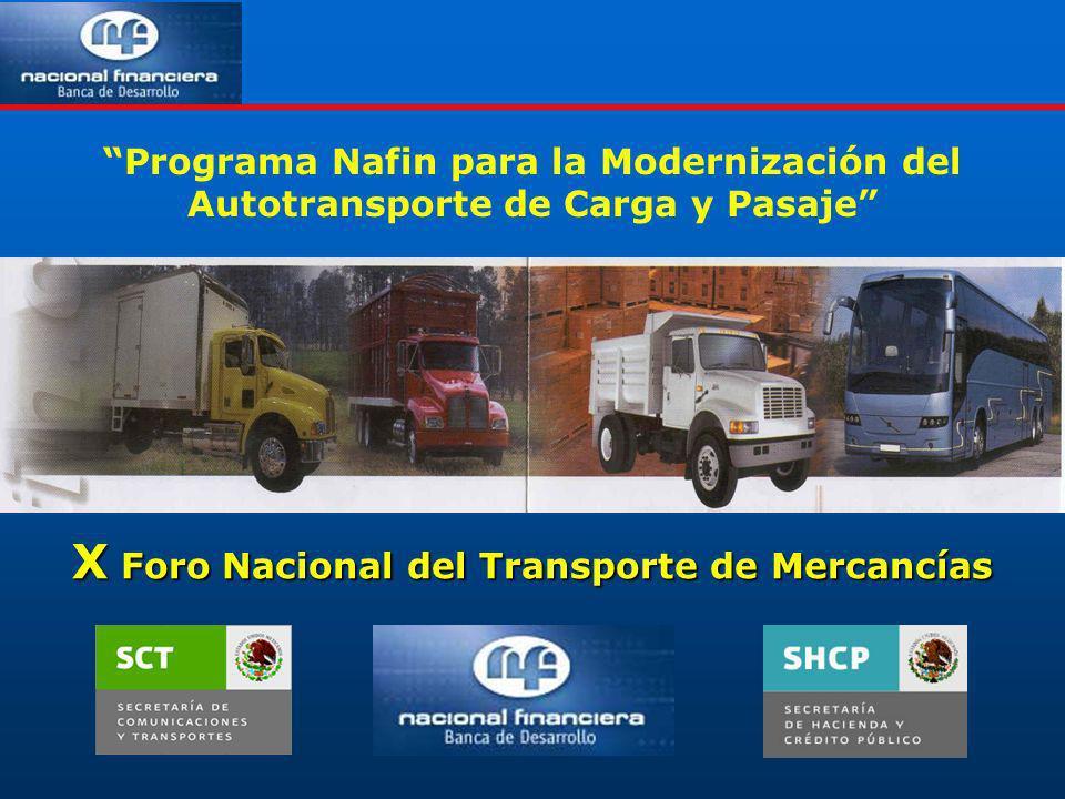Programa Nafin para la Modernización del Autotransporte de Carga y Pasaje X Foro Nacional del Transporte de Mercancías