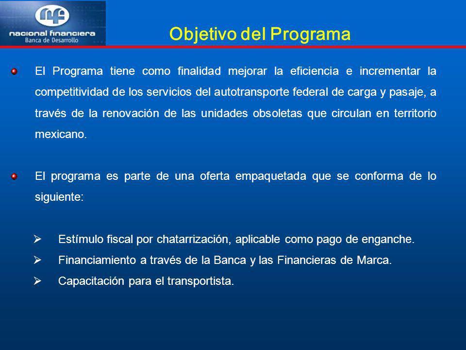 Objetivo del Programa El Programa tiene como finalidad mejorar la eficiencia e incrementar la competitividad de los servicios del autotransporte feder