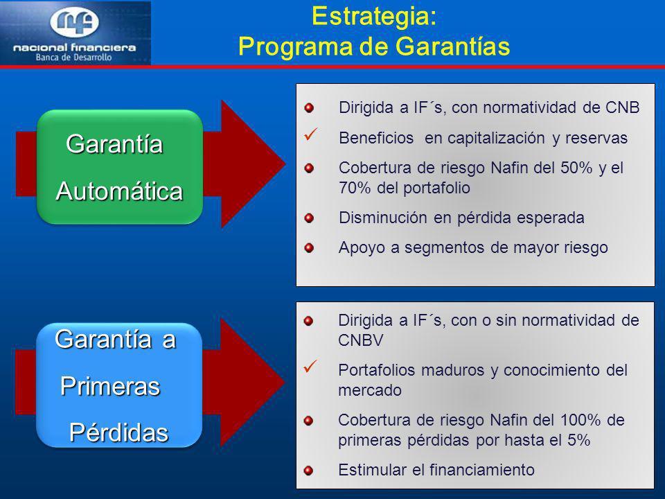 Estrategia: Programa de GarantíasGarantíaAutomáticaGarantíaAutomática Dirigida a IF´s, con normatividad de CNB Beneficios en capitalización y reservas