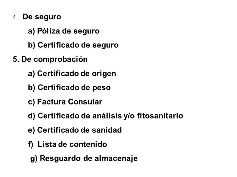 4. De seguro a) Póliza de seguro b) Certificado de seguro 5. De comprobación a) Certificado de origen b) Certificado de peso c) Factura Consular d) Ce