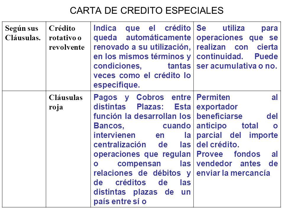 CARTA DE CREDITO ESPECIALES Según sus Cláusulas. Crédito rotativo o revolvente Indica que el crédito queda automáticamente renovado a su utilización,