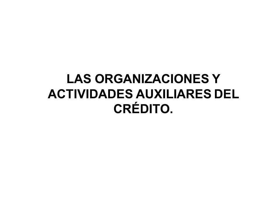 LAS ORGANIZACIONES Y ACTIVIDADES AUXILIARES DEL CRÉDITO.