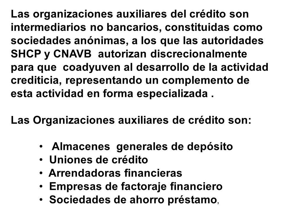 Las organizaciones auxiliares del crédito son intermediarios no bancarios, constituidas como sociedades anónimas, a los que las autoridades SHCP y CNA