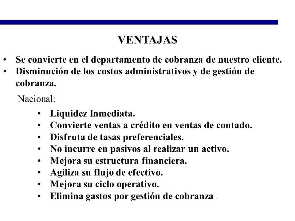 VENTAJAS Se convierte en el departamento de cobranza de nuestro cliente. Disminución de los costos administrativos y de gestión de cobranza. Nacional:
