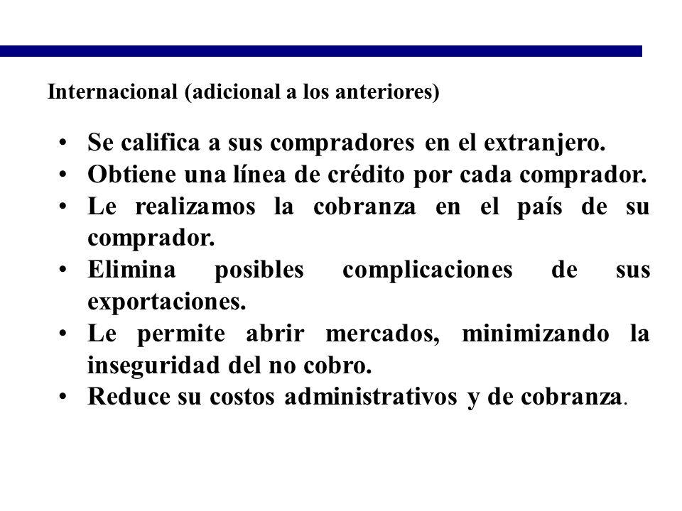Internacional (adicional a los anteriores) Se califica a sus compradores en el extranjero. Obtiene una línea de crédito por cada comprador. Le realiza