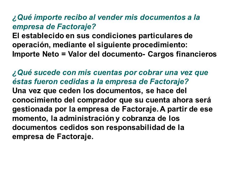 ¿Qué importe recibo al vender mis documentos a la empresa de Factoraje? El establecido en sus condiciones particulares de operación, mediante el sigui