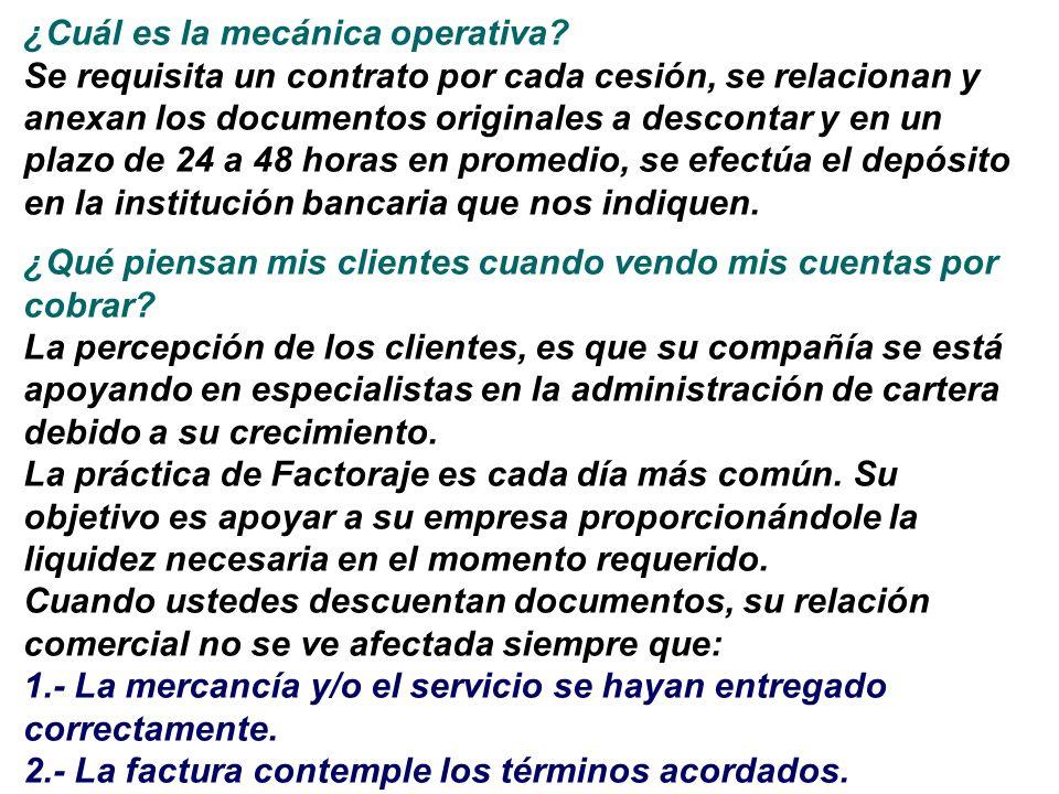¿Cuál es la mecánica operativa? Se requisita un contrato por cada cesión, se relacionan y anexan los documentos originales a descontar y en un plazo d