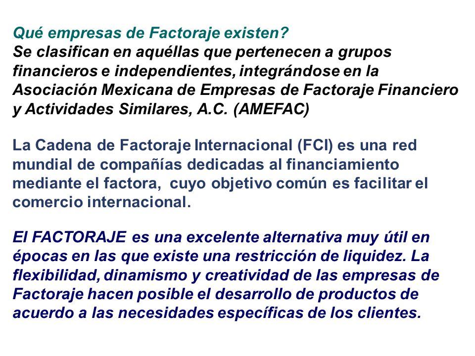 Qué empresas de Factoraje existen? Se clasifican en aquéllas que pertenecen a grupos financieros e independientes, integrándose en la Asociación Mexic