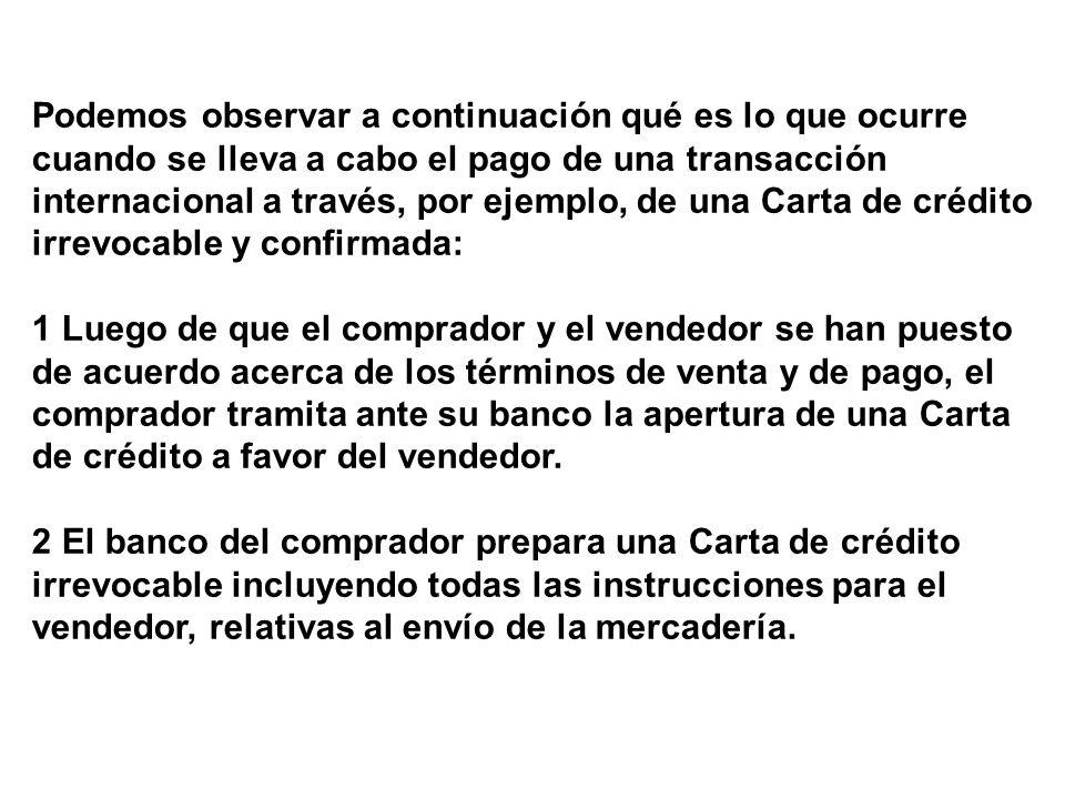 3 El banco del comprador envía la Carta de crédito irrevocable a un banco en México, pidiendo la confirmación de la Carta.