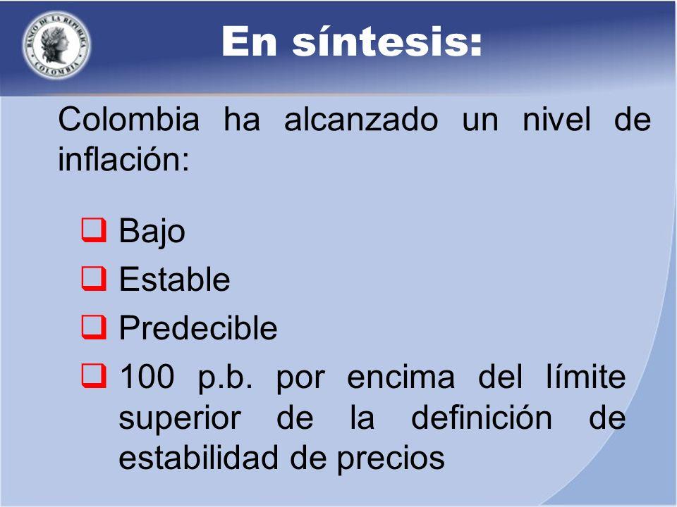 Bajo Estable Predecible 100 p.b. por encima del límite superior de la definición de estabilidad de precios En síntesis: Colombia ha alcanzado un nivel
