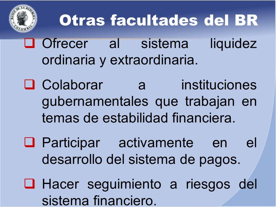 Ofrecer al sistema liquidez ordinaria y extraordinaria. Colaborar a instituciones gubernamentales que trabajan en temas de estabilidad financiera. Par