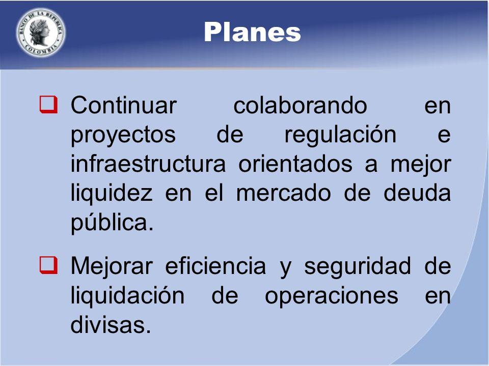Planes Continuar colaborando en proyectos de regulación e infraestructura orientados a mejor liquidez en el mercado de deuda pública. Mejorar eficienc