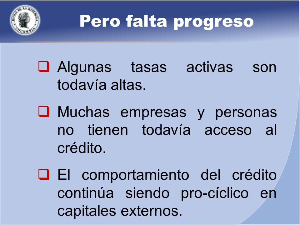 Pero falta progreso Algunas tasas activas son todavía altas. Muchas empresas y personas no tienen todavía acceso al crédito. El comportamiento del cré