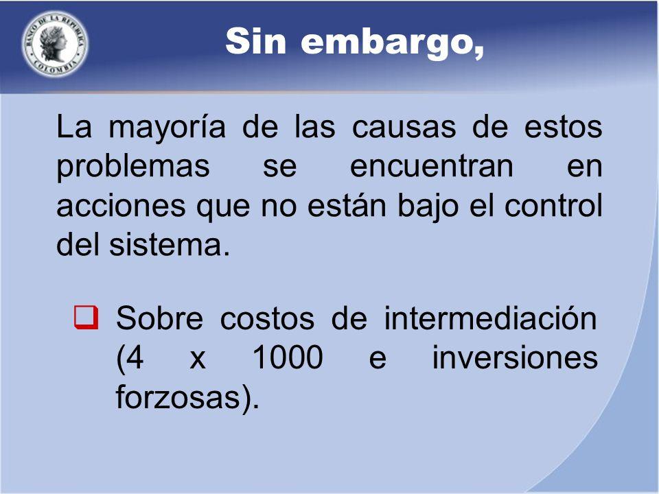 Sin embargo, Sobre costos de intermediación (4 x 1000 e inversiones forzosas). La mayoría de las causas de estos problemas se encuentran en acciones q