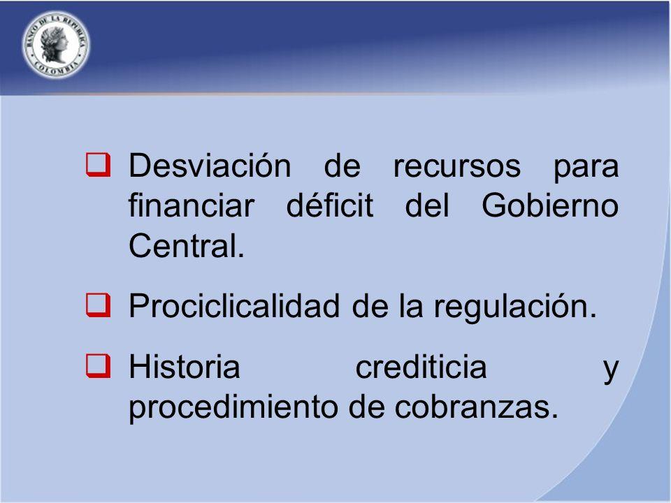 Desviación de recursos para financiar déficit del Gobierno Central. Prociclicalidad de la regulación. Historia crediticia y procedimiento de cobranzas