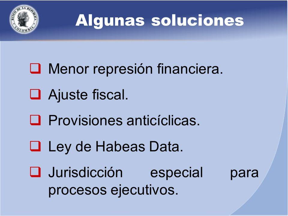Algunas soluciones Menor represión financiera. Ajuste fiscal. Provisiones anticíclicas. Ley de Habeas Data. Jurisdicción especial para procesos ejecut