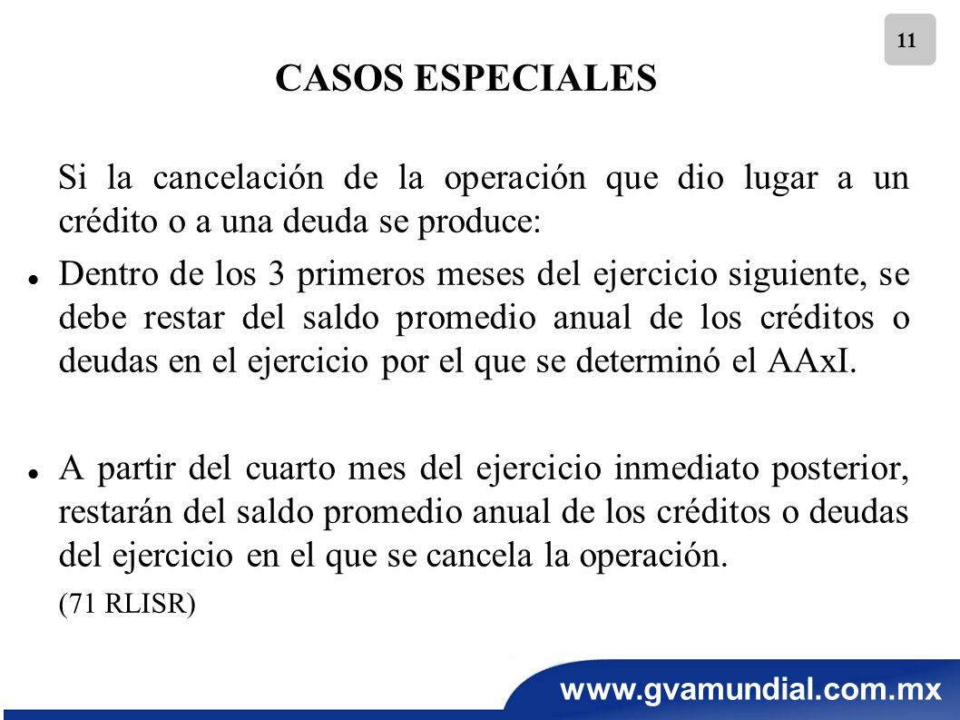 www.gvamundial.com.mx 11 Si la cancelación de la operación que dio lugar a un crédito o a una deuda se produce: Dentro de los 3 primeros meses del eje
