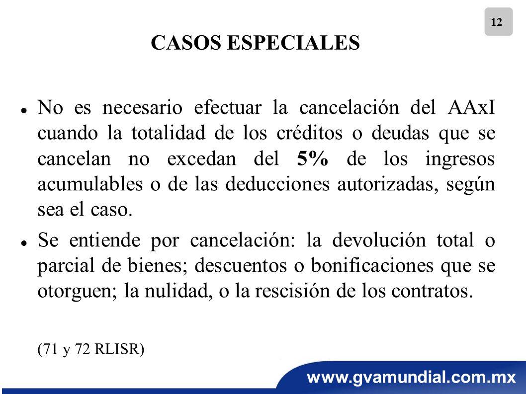 www.gvamundial.com.mx 12 No es necesario efectuar la cancelación del AAxI cuando la totalidad de los créditos o deudas que se cancelan no excedan del