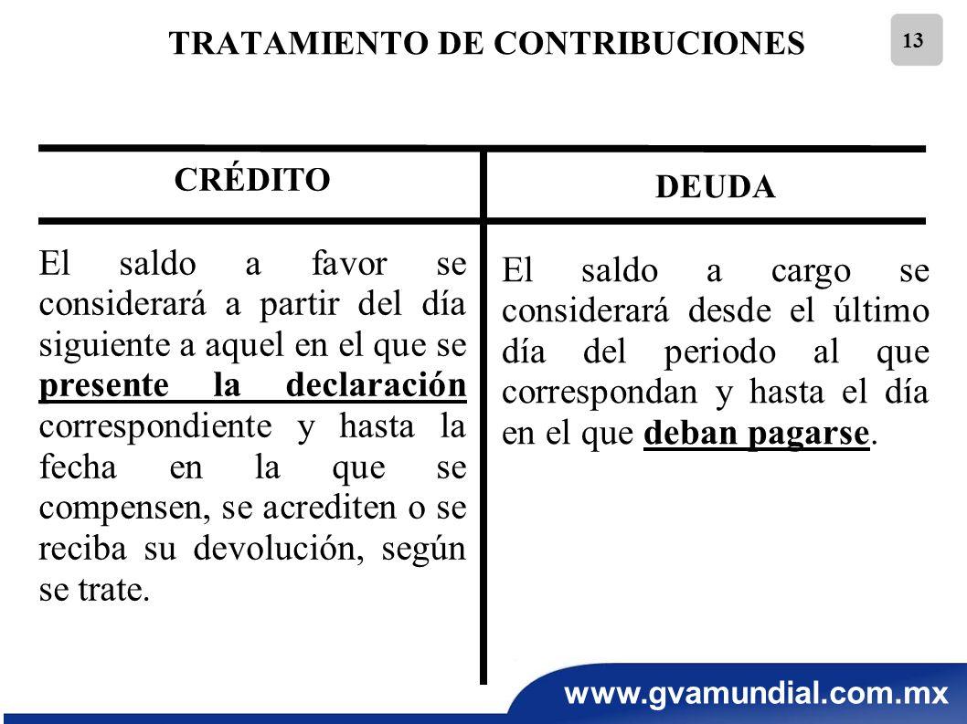 www.gvamundial.com.mx 13 TRATAMIENTO DE CONTRIBUCIONES CRÉDITO El saldo a favor se considerará a partir del día siguiente a aquel en el que se present
