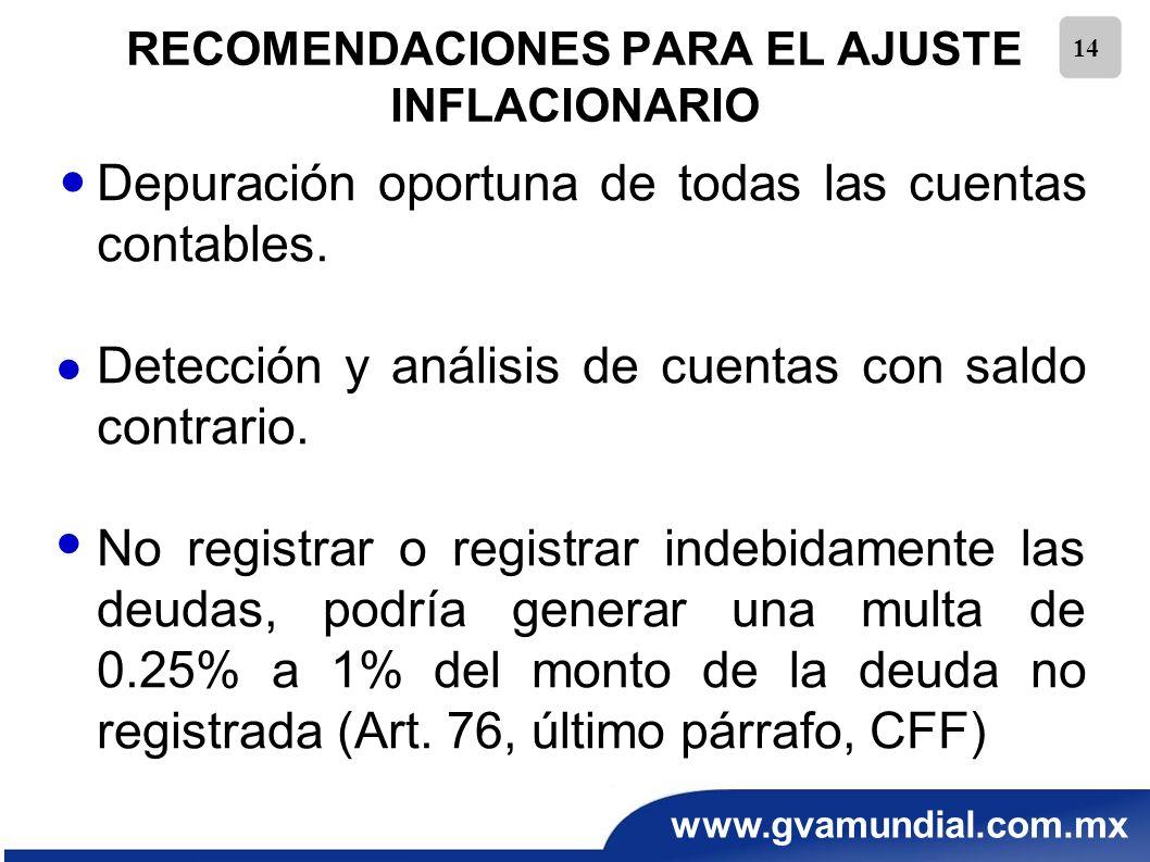 www.gvamundial.com.mx 14 RECOMENDACIONES PARA EL AJUSTE INFLACIONARIO Depuración oportuna de todas las cuentas contables. Detección y análisis de cuen