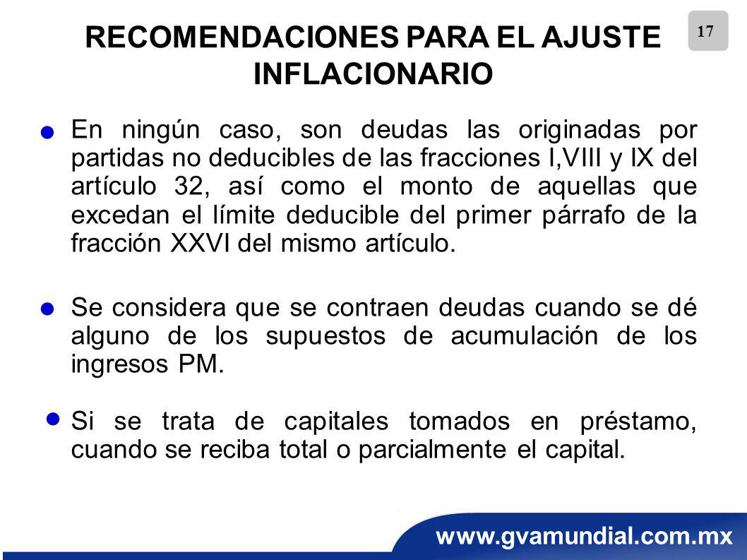 www.gvamundial.com.mx 17 RECOMENDACIONES PARA EL AJUSTE INFLACIONARIO En ningún caso, son deudas las originadas por partidas no deducibles de las frac