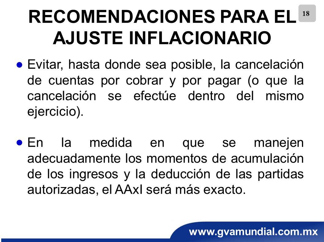 www.gvamundial.com.mx 18 RECOMENDACIONES PARA EL AJUSTE INFLACIONARIO Evitar, hasta donde sea posible, la cancelación de cuentas por cobrar y por paga